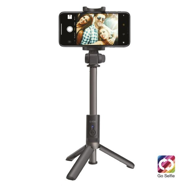 SBS - Selfie tyč s trojnožkou wireless, universal for iOS and Android, aluminium telescopic arm, rubber finish, black color