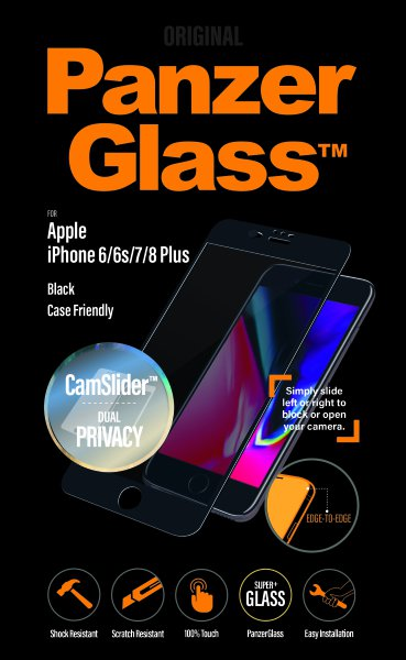PanzerGlass - Tvrdené sklo Privacy, Case Friendly, CamSlider pre iPhone 8/7/6S/6 Plus, čierna